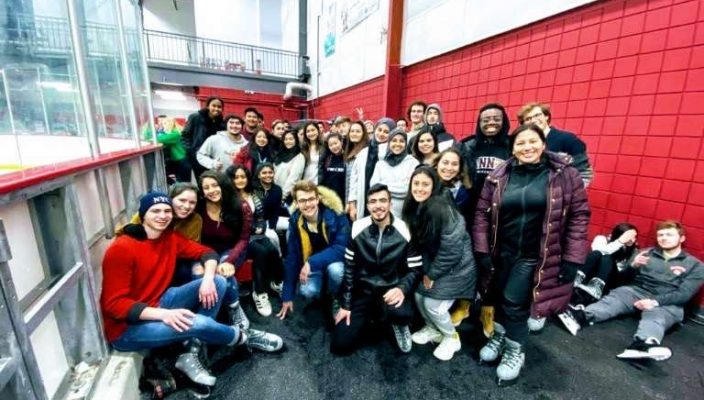 Gannon's international students gathered for a day of ice skating before the global pandemic.