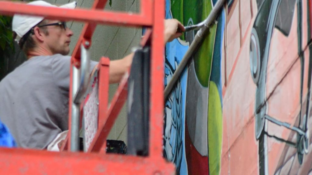 Mural takes shape quickly on AJ's Way