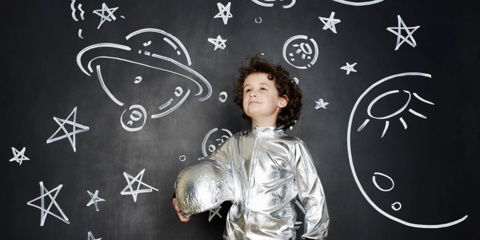 Boy dressed as an astronaut