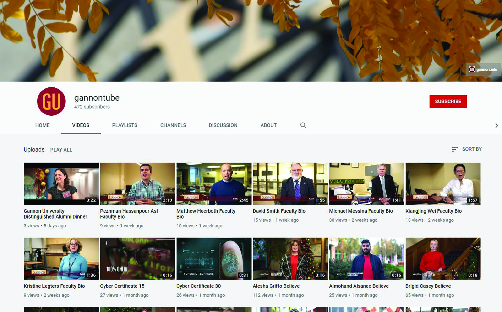 Students explore Gannon's YouTube channel