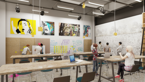 A mock up drawing of the Idea Lab to be built in the new I-HACK center.