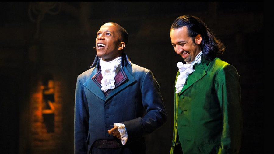 "Leslie Odom Jr. (left) and Lin-Manuel Miranda star in ""Hamilton,"" available on Disney+ now."