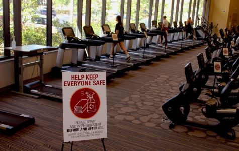 Students utilize the treadmills at Gannon's Recreation and Wellness Center. Signs are in place at the RWC to ensure people maintain proper social distance and disinfecting procedures. The RWC reopened on July 27 with increased COVID-19 protocols.
