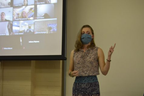 Alicia Fenton, junior physical therapy major, speaks to a those in attendance at Thursday's Speaking to Suicide panel. The panel, held both in person and on Zoom, focused on the importance of mental health and seeking help.