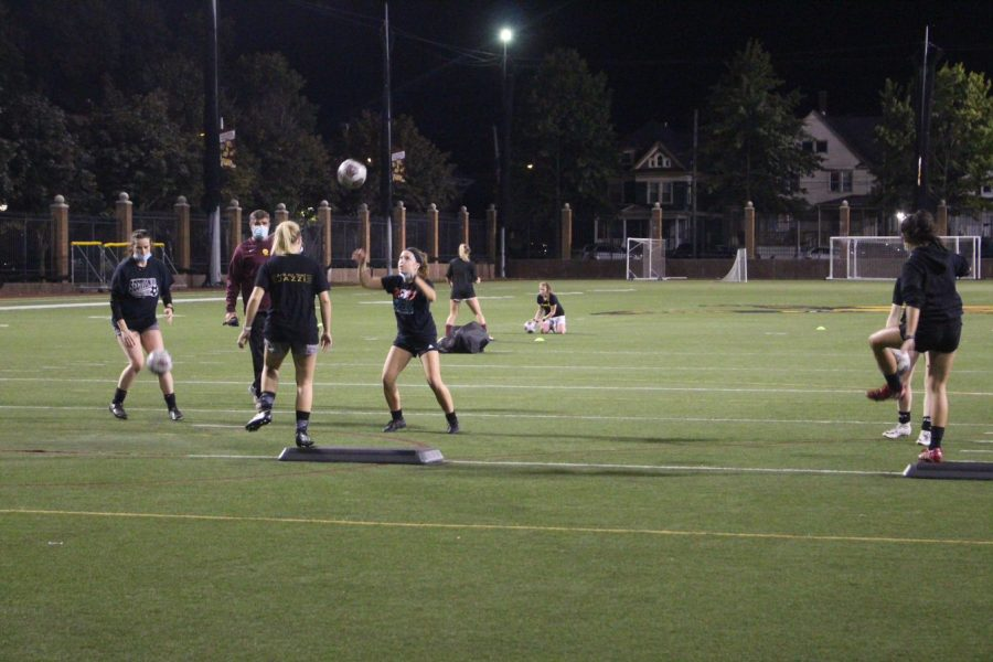 Women's soccer team practices Monday at McConnell Family Stadium.