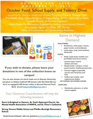 The drive, which runs now through Nov. 3, is collecting toiletries, food and school supplies for those in need.