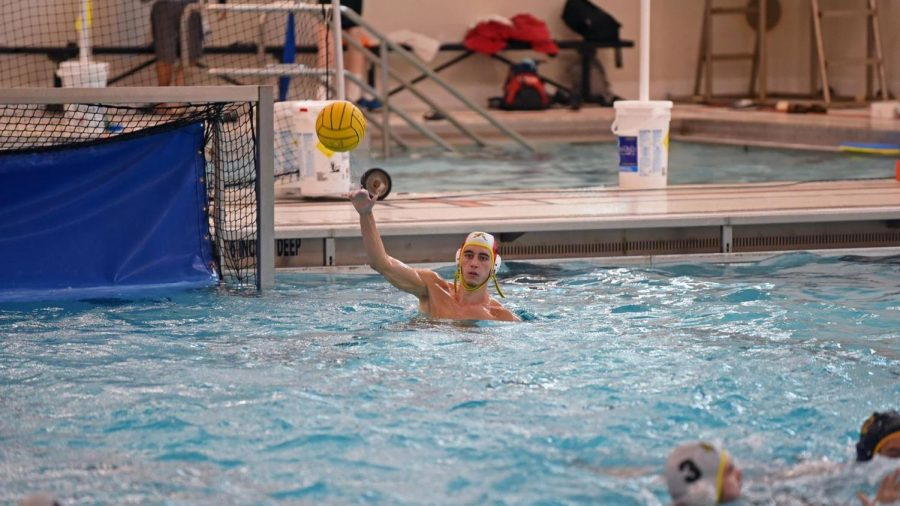 Gannon goalie Jacob Hollo makes a pass for the men's water polo team this past weekend against Mercyhurst University. The Knights went 2-0 on the weekend, also beating Mount St. Mary's.