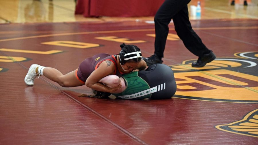Gannon's Lana Perez competes during the NCWWC Northeast Regional Qualifier on Saturday. Perez took home first place in the 130-pound division, Gannon's only first-place finish on the day.