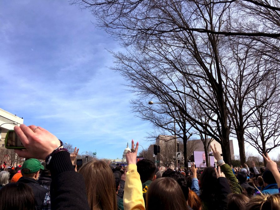 A crowd of people hold up peace signs at the March for Our Lives in March 2018 as a sign of solidarity with the survivors of the Feb. 14, 2018 Marjory Stoneman Douglas High School shooting.