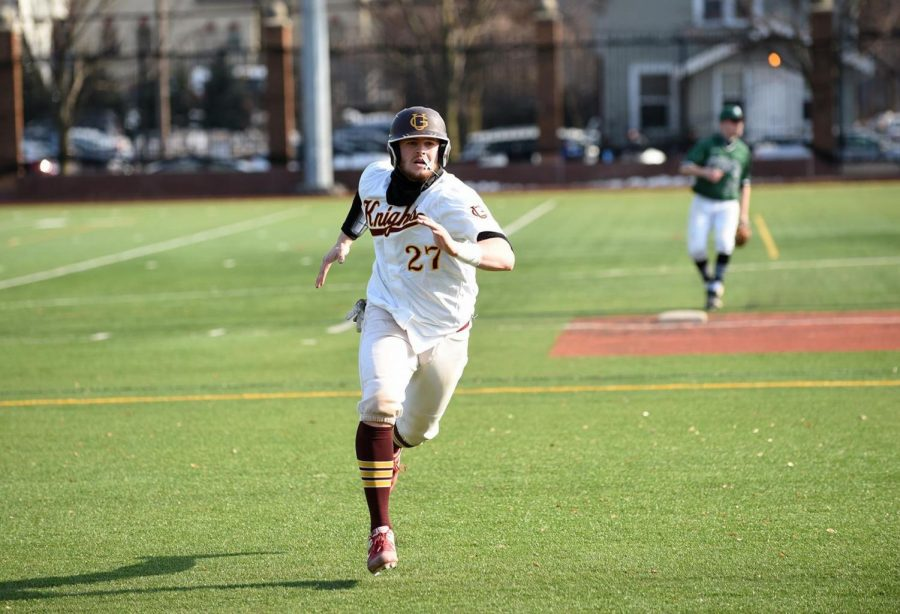 Gannon University's Tyler Mattocks hit his first career home run Sunday afternoon versus Chestnut Hill. Gannon lost the game 15-6.