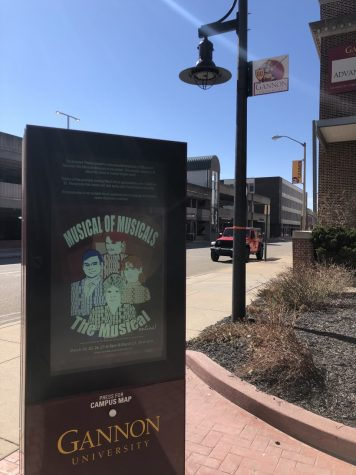 Ali Smith/Knight  Gannon University's spring musical advertised on all kiosks campuswide.