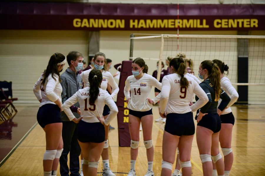Gannon University's volleyball team listens to coach Matt Darling at a game against Georgian Court on Feb. 14. The Knights defeated the No. 1 team in the country, Hillsdale, Saturday.