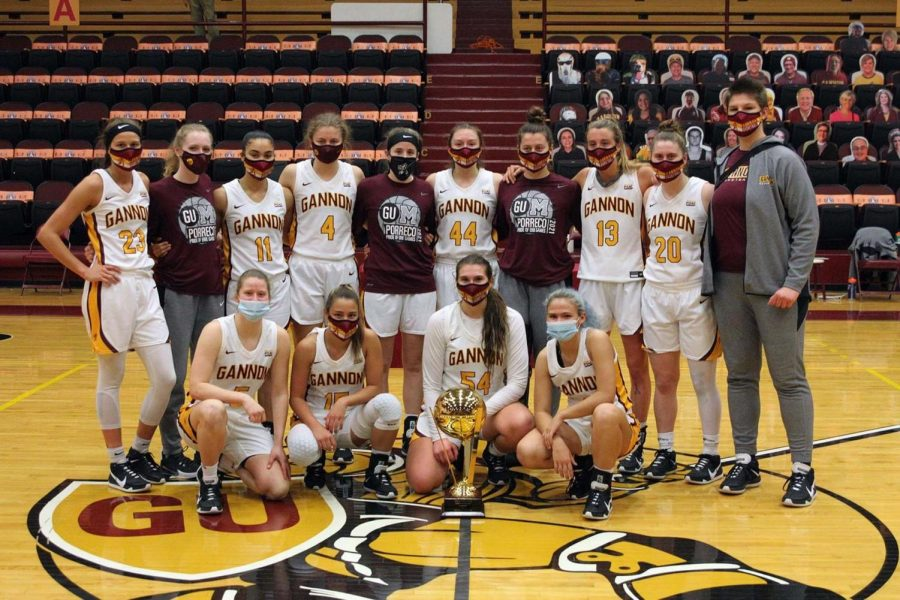 Gannon University's women's basketball team celebrates a 73-60 victory over rival Mercyhurst University in the Porreco Pride of Erie game Saturday at the Hammermill Center.