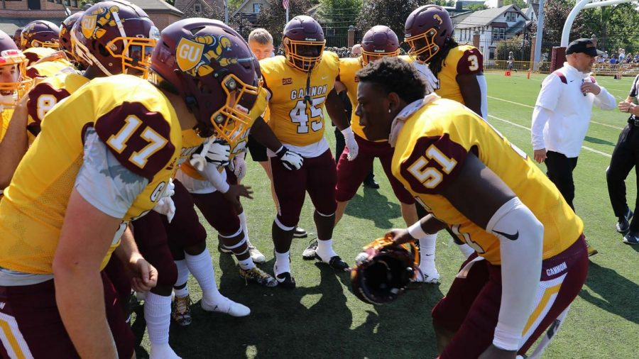 The+Gannon+Knights+football+suffered+a+tough+loss+in+its+first+home+game+of+the+season.